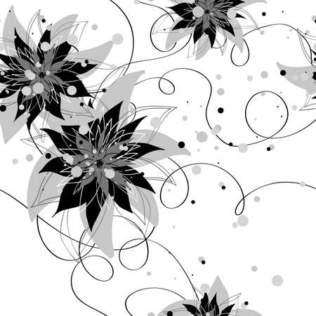 Seamless monochrome floral background Stock Vector - 22188933