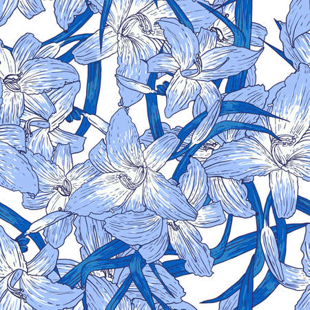 Seamless floral  pattern with lilies, Vector background in blue Vector