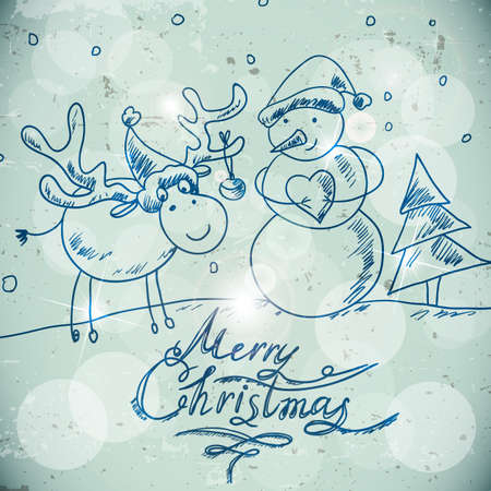 Christmas greetings card with a snowman and moose Vector