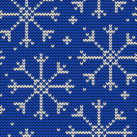 Knitted seamless winter pattern with snowflakes Stock Vector - 22474856