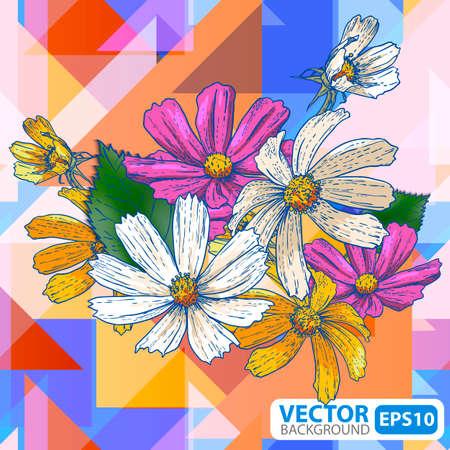 orange rose: Flowers on a geometric background Illustration
