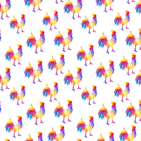 Seamless pattern with cocks in the geometric style