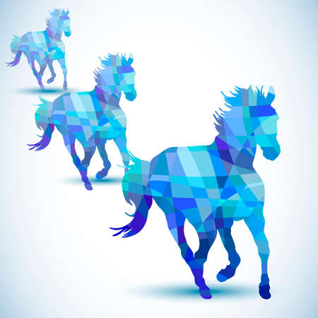 Blue abstract horse of geometric shapes Vector