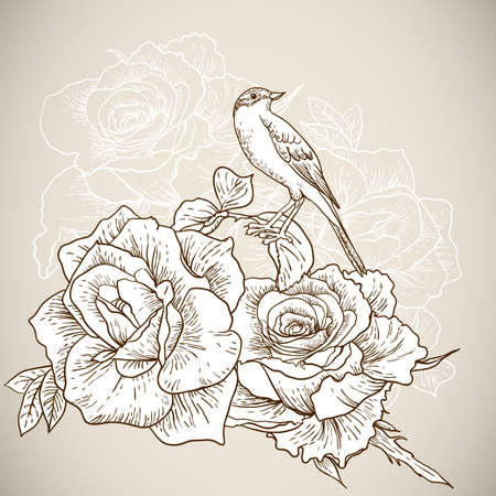 Beautiful Monochrome Rose Background with Birds Vector