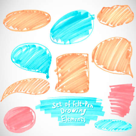 Set of felt pen paint stains Vector