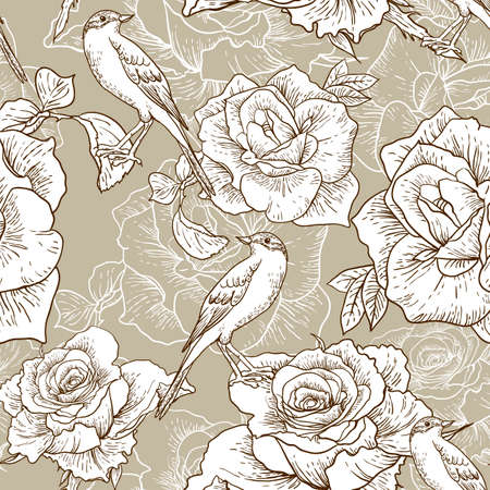 Beautiful Monochrome Seamless Rose Background with Birds