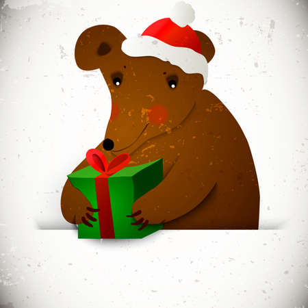 Christmas bear background Vector