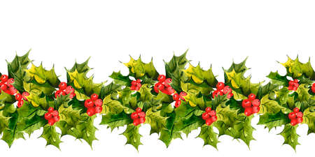 holly leaves: Christmas Holly Watercolor seamless background