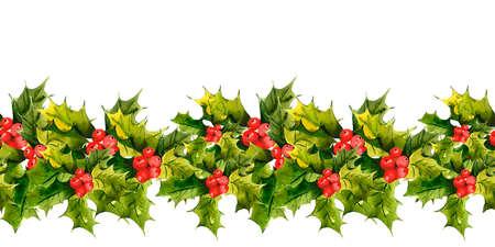 houx: Houx de Noël Aquarelle de fond sans soudure Banque d'images