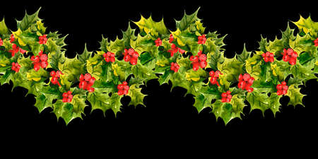 christmas holly: Christmas Holly Watercolor seamless background