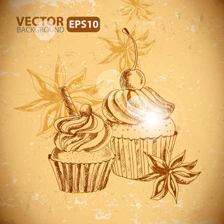 Vintage background with Cupcake and cinnamon Vector