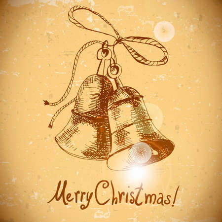victorian christmas: Christmas bell Vintage background