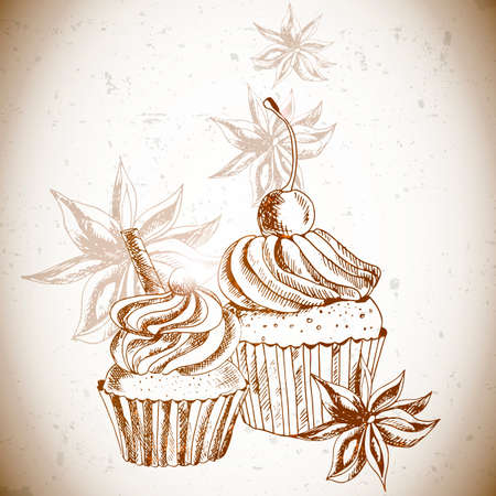 Vintage background with Cupcake and cinnamon Illustration