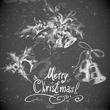 jingle bells: Vector set vintage Christmas design elements