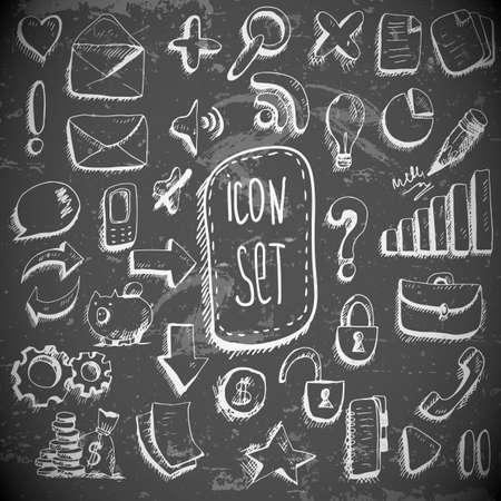 Doodle set of vintage internet icons Vector