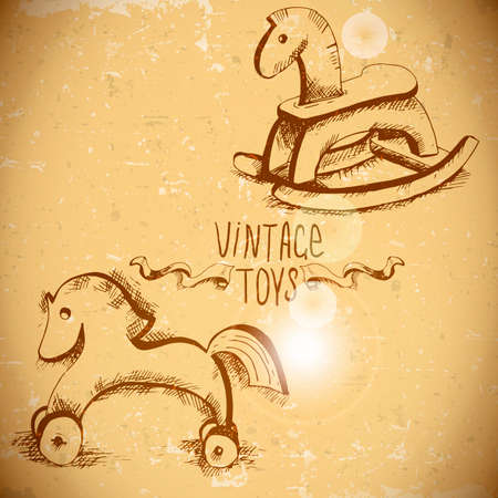 rocking horse: hand drawn vintage toys