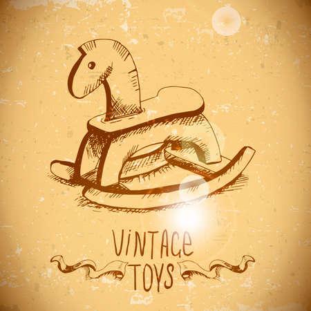 hand drawn vintage toys