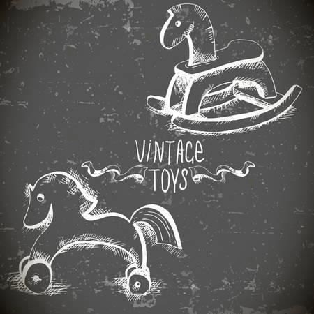 hand drawn vintage toys Vector