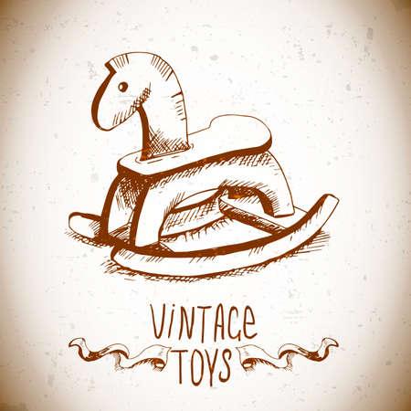 rocking: hand drawn vintage toys