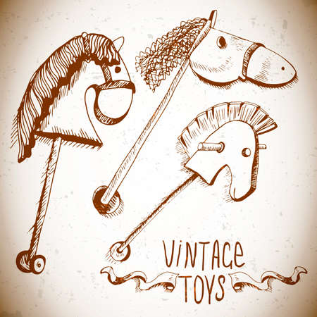 wooden horse: hand drawn vintage toys