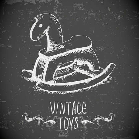 hand drawn vintage toys Vector