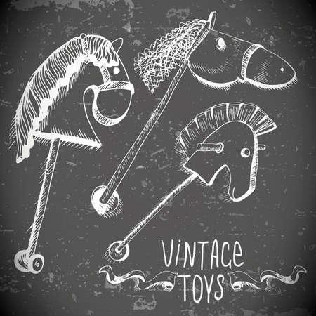 juguetes antiguos: dibujados a mano juguetes antiguos Vectores