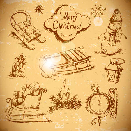 Hand-drawn New Year and Christmas set in vintage style Vector