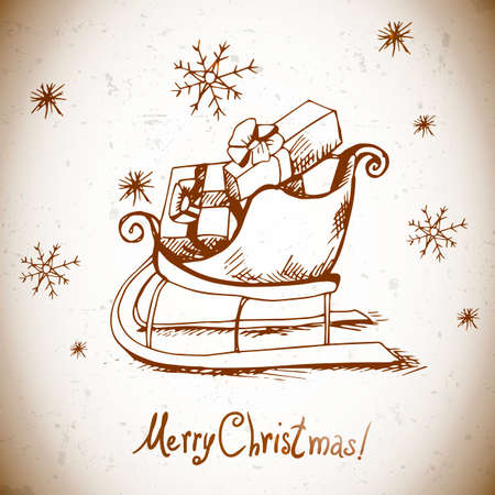 Hand-drawn vintage greeting card with Christmas sleigh with gifts Vector