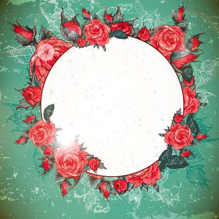 rose frame: Romantic Vintage Rose Frame Illustration
