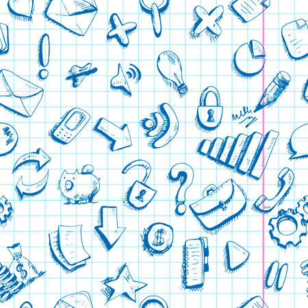 Communication Doodle internet icons seamless background Vector