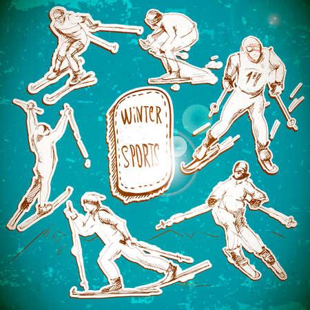 scetch: Winter sports, skier scetch Illustration