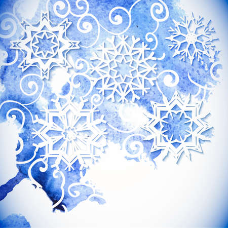 Watercolor  snowflakes background Vector