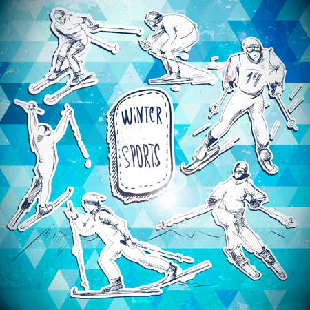 Winter sports, skier scetch Vector
