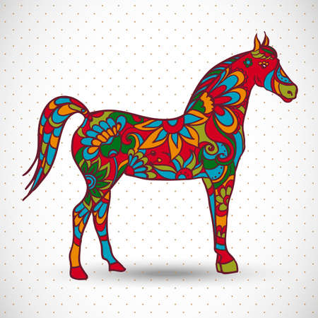horse: Horse with flowers and ornaments, vector illustration Illustration