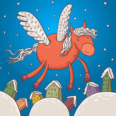 wings vector:  Horse with wings, vector illustration