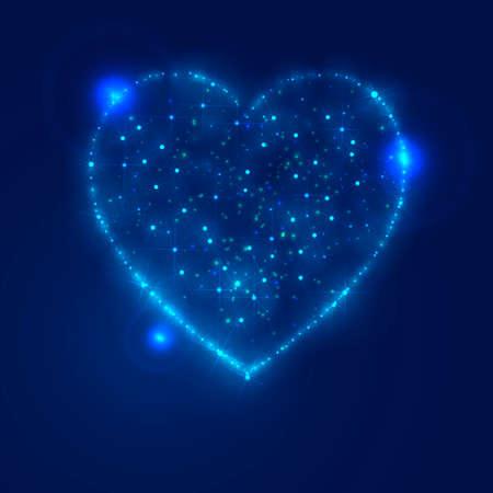 glitter heart: Love heart background from beautiful bright stars