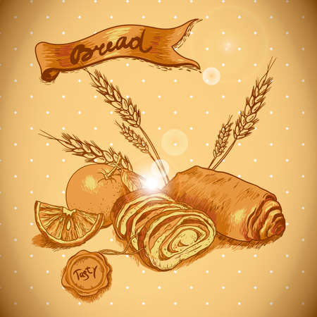 Bakery sketches in vintage style Vector