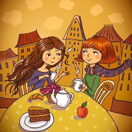 amigos comiendo: Dos mujeres jovenes que beben el caf� en el caf� Vectores