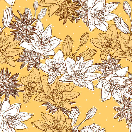 Seamless floral with bird Vector