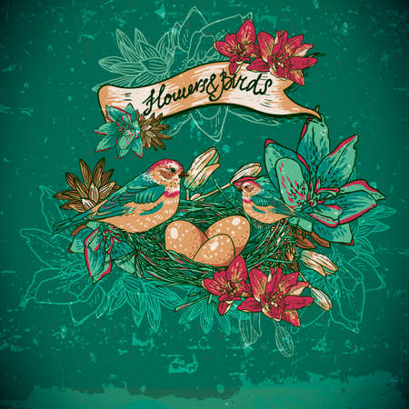 Vintage floral with birds Vector
