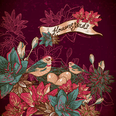 birds nest: Vintage floral with birds