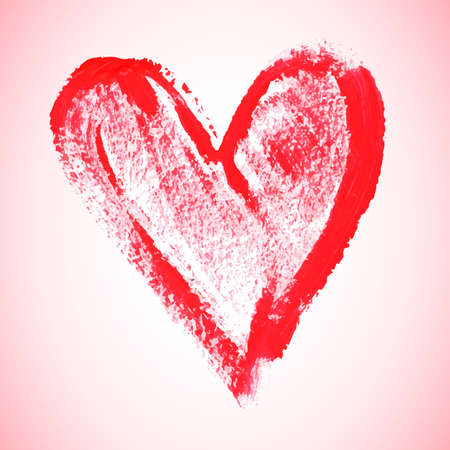 painted image: Watercolor red heart illustration
