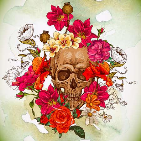 tete de mort: Cr�ne et fleurs jour des morts Illustration