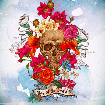 day of the dead: Skull and Flowers Day of The Dead Illustration
