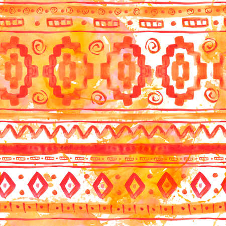 bohemian: Watercolor Ethnic African Seamless Background