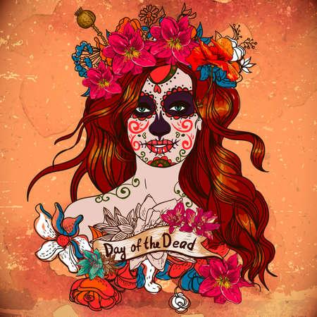 dia de muerto: Muchacha con el cr�neo del az�car, d�a de los muertos Vectores