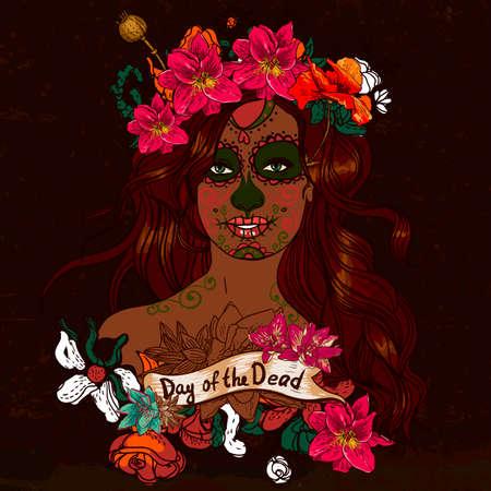 dead girl: Girl With Sugar Skull, Day of the Dead Illustration