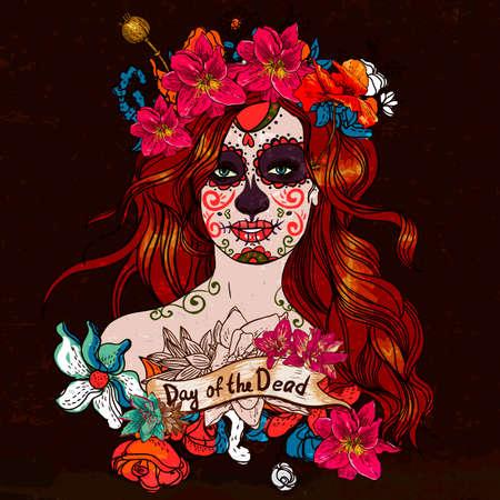 Chica Con cráneo del azúcar, día de los muertos Ilustración de vector