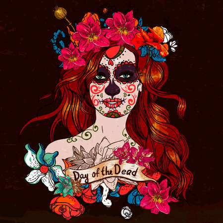 mexican culture: Girl With Sugar Skull, Day of the Dead Illustration