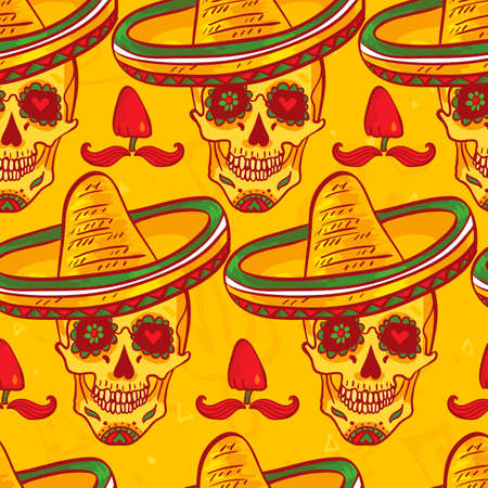 Skull in sombrero Day of The Dead Vector